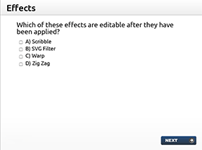 Which of these effects are editable after they have been applied? A) Scribble, B) SVG Filter, C) Warp or D) Zig Zag