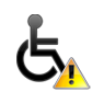 wheelchair symbol with exclamation point